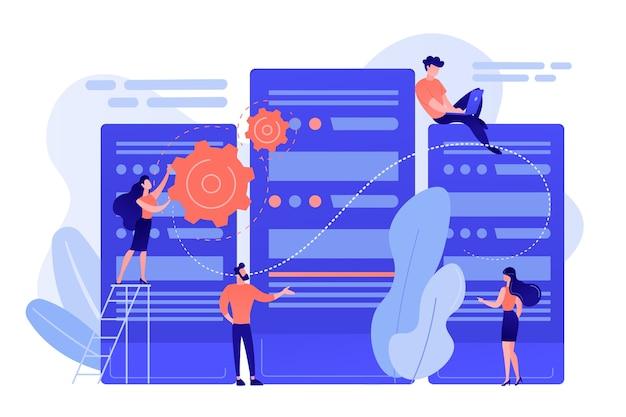 Pequeños ingenieros y administradores del centro de datos que trabajan con servidores
