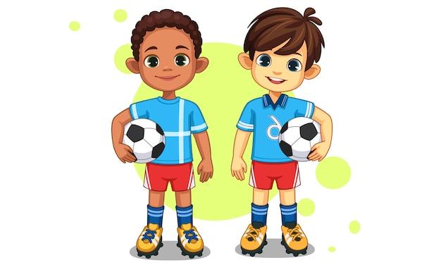 Pequeños jugadores de fútbol lindos