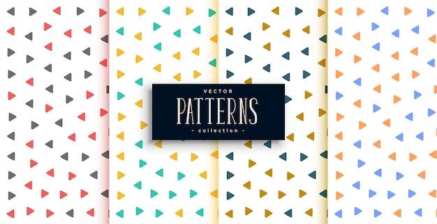 Pequeños patrones triangulares en diferentes colores.