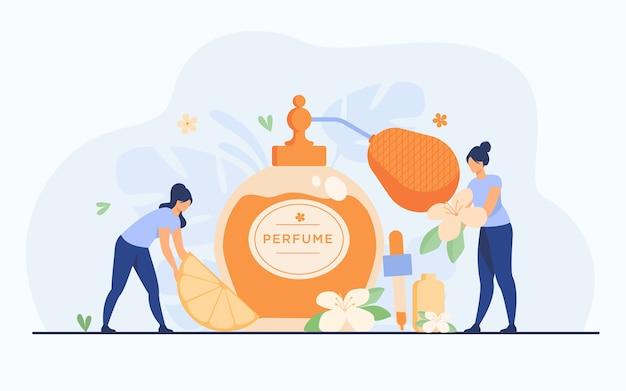 Pequeños perfumistas que crean fragancias frescas de cítricos y flores, sosteniendo flores y rodajas de limón cerca del frasco de vidrio. ilustración de vector de perfumería y concepto de aroma.