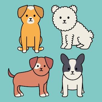 Pequeños perros adorables mascotas personajes.