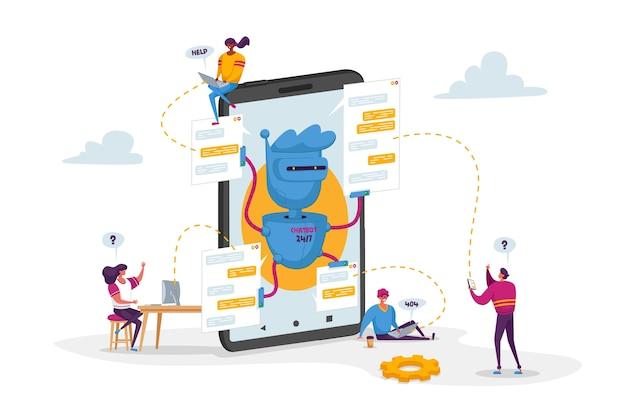 Pequeños personajes alrededor de un enorme móvil con robot assistant
