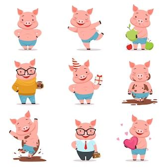 Pequeños personajes de cerdos de dibujos animados posando en diferentes situaciones conjunto de ilustraciones vectoriales