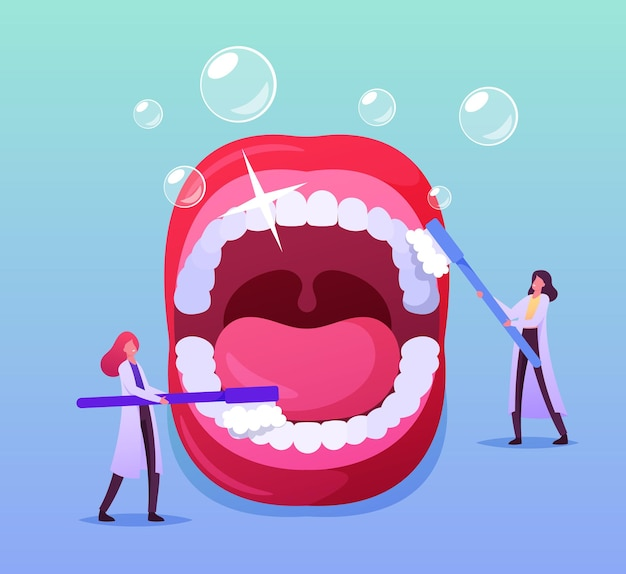 Pequeños personajes de dentista médico cuidado de dientes enormes en la boca abierta con cepillo y pasta de dientes