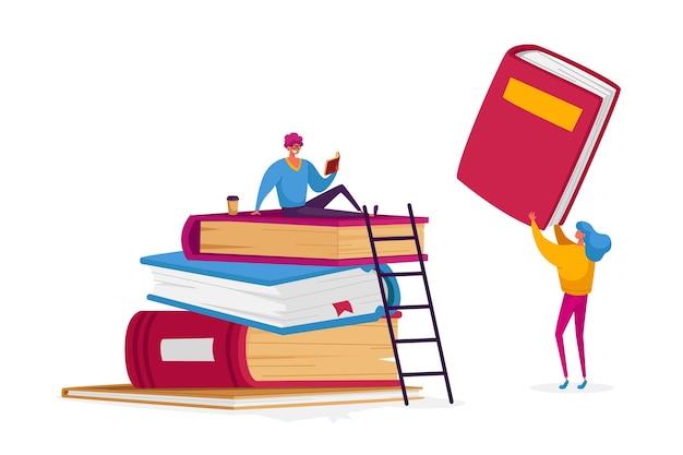 Pequeños personajes de estudiantes en enormes libros apilan tareas de aprendizaje