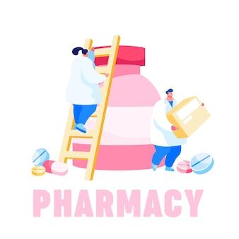 Pequeños personajes farmacéuticos que se suben a una enorme botella de medicina