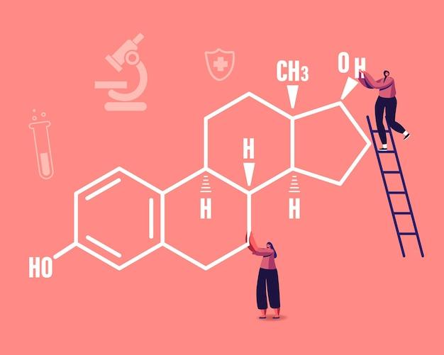 Pequeños personajes femeninos en enorme fórmula de estrógeno con iconos médicos. ilustración de dibujos animados