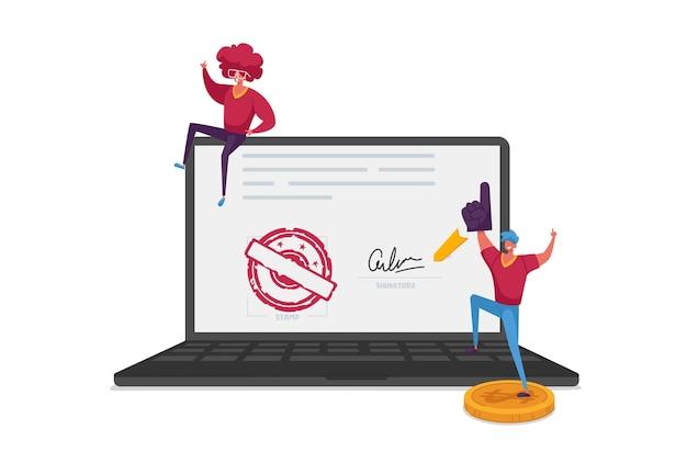 Pequeños personajes masculinos con disfraces divertidos animando a una enorme computadora portátil