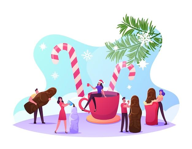 Pequeños personajes masculinos y femeninos alrededor de una taza enorme y bastones de caramelo crean y comen el dulce postre de chocolate de santa. trato de navidad, vacaciones de invierno, celebración de navidad. ilustración de vector de gente de dibujos animados