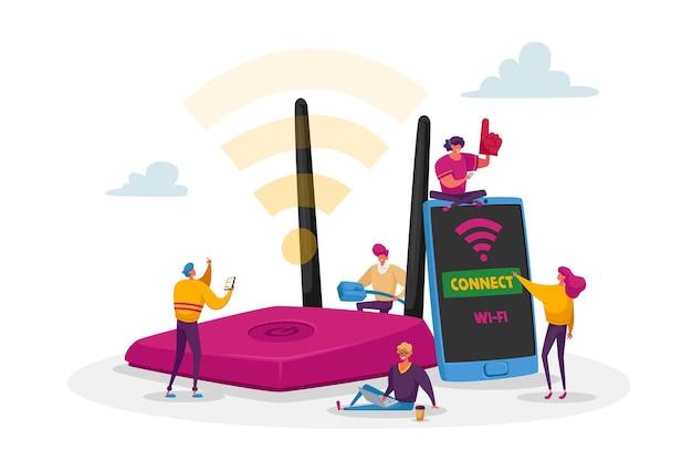 Pequeños personajes masculinos y femeninos en un enorme enrutador usan internet en computadoras portátiles y teléfonos inteligentes