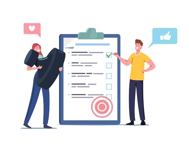 Pequeños personajes masculinos y femeninos con una enorme lista de verificación colocan marcas en casillas de verificación en el portapapeles