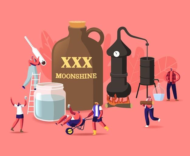Pequeños personajes masculinos y femeninos hacen alcohol ilegal en las condiciones del hogar utilizando accesorios para la producción de alcohol casero