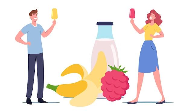 Pequeños personajes masculinos y femeninos con paleta de helado de frutas en una enorme botella de yogur y frutas