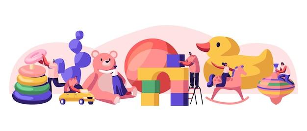 Pequeños personajes masculinos y femeninos que juegan con enormes juguetes para bebés en el patio de juegos del jardín de infantes con diferentes juguetes para niños. ilustración de vector plano de dibujos animados de actividad de juegos de niños, hombres y mujeres