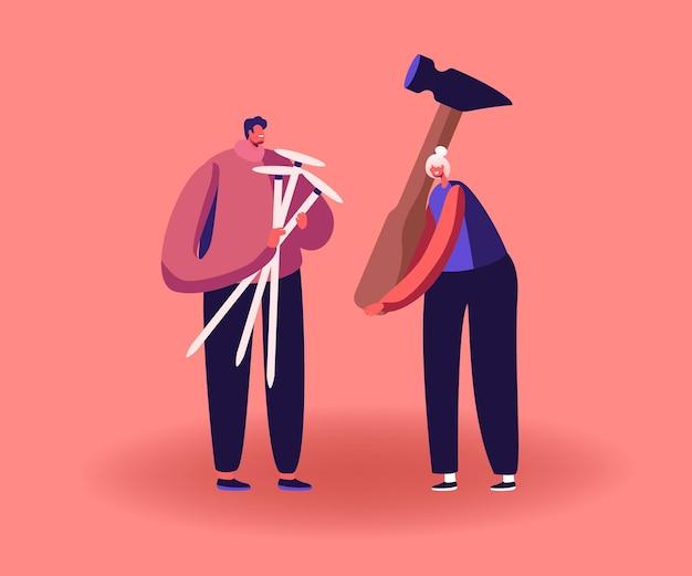 Pequeños personajes masculinos y femeninos que sostienen enormes clavos y un martillo para reparar zapatos o arreglar cosas rotas
