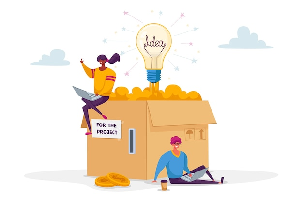 Pequeños personajes masculinos y femeninos sentados en una enorme caja de cartón con ranura para monedas y bombilla incandescente