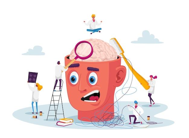 Pequeños personajes de médicos en una enorme cabeza enferma resuelven los problemas mentales de los pacientes