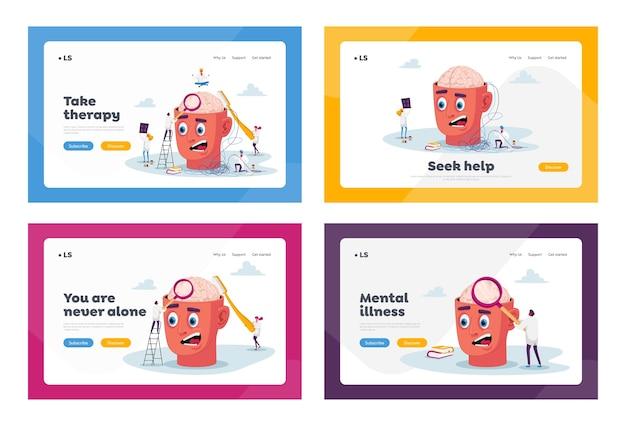 Pequeños personajes de médicos en huge head resuelven los problemas mentales de los pacientes