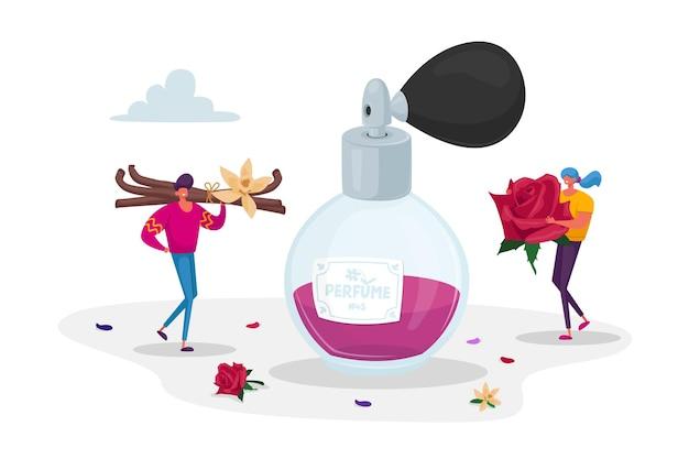 Pequeños personajes de perfumistas que sostienen ingredientes enormes para crear un nuevo perfume