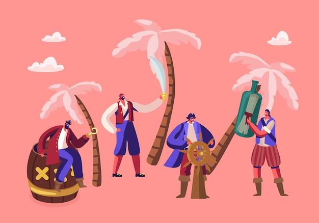 Pequeños personajes de piratas vestidos con disfraces en la isla con palmeras