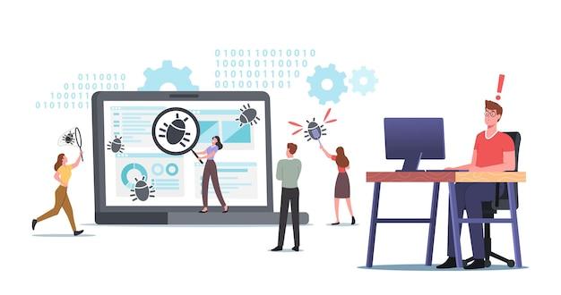 Pequeños personajes que corrigen errores en una enorme pc. desarrollo de software para dispositivos digitales. proceso de optimización, programa de depuración o código para laptop. tecnologia computacional. ilustración de vector de gente de dibujos animados
