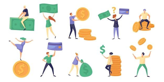 Pequeños personajes sostienen billetes, monedas y sueldos. gente rica de dibujos animados con moneda. finanzas deudas, ahorros e inversiones concepto conjunto de vectores