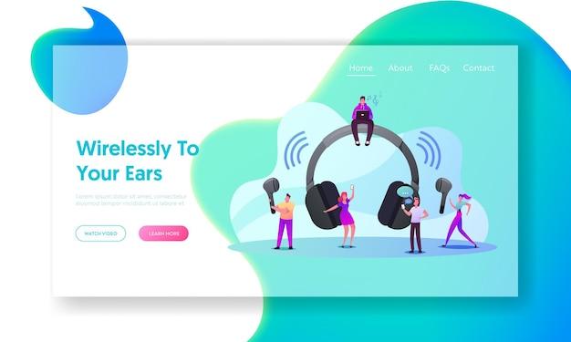 Pequeños personajes usan la plantilla de página de destino de auriculares inalámbricos
