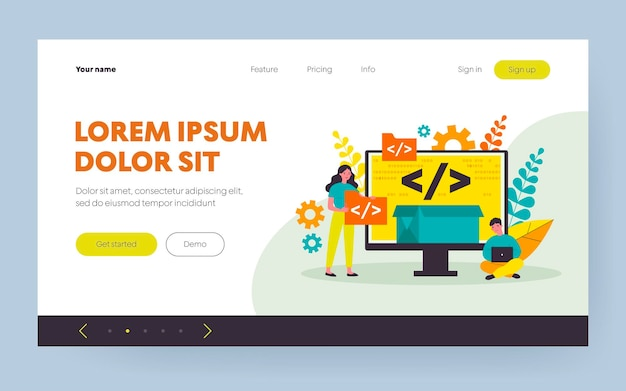 Pequeños programadores que programan el sitio web para la ilustración de vector plano de plataforma de internet. desarrolladores de dibujos animados que crean código abierto o script. desarrollo de software y concepto de tecnología digital.