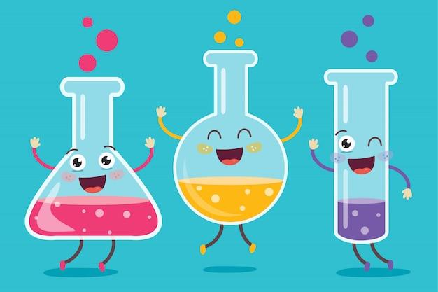 Pequeños tubos haciendo experimento químico