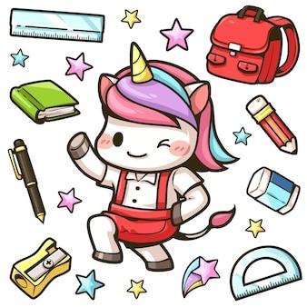 Los pequeños unicornios van a la escuela y la papelería.