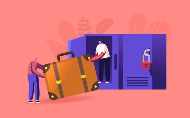 Pequeños viajeros con una enorme bolsa en el depósito de equipaje colocan la bolsa en el casillero con llaves en el aeropuerto o supermercado