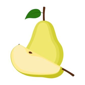 Pera, fruta entera y rebanada, ilustración vectorial