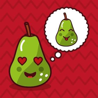Pera linda kawaii fruta con personaje de burbujas de discurso