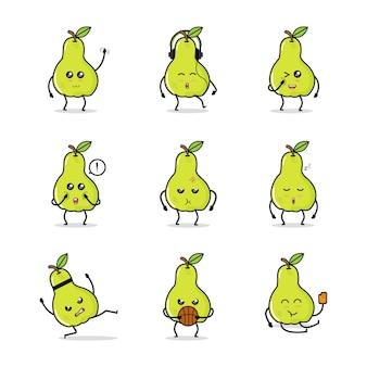 Pera verde fruta icono animación dibujos animados personaje mascota vida diaria deporte actividad cesta helado