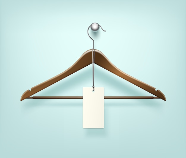 Percha de madera marrón de abrigo de ropa con etiqueta de venta