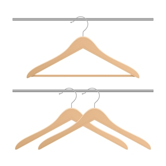 Percha de ropa de madera aislada
