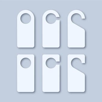 Perchas de cerradura de manija de puerta de papel en blanco blanco