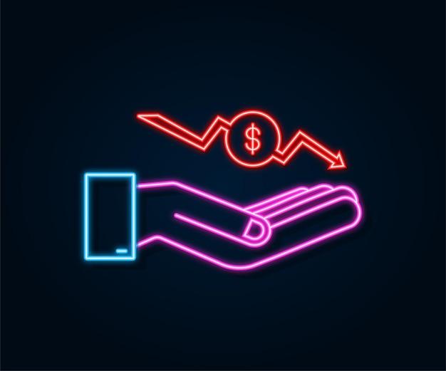 Pérdida de dinero letrero de neón en las manos efectivo con flecha hacia abajo concepto gráfico de acciones de crisis financiera