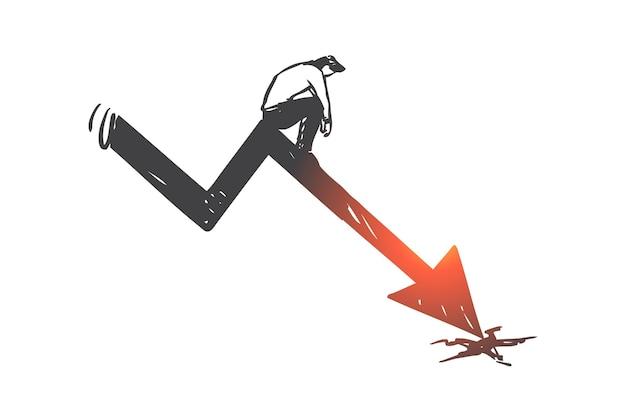 Pérdida empresarial, disminución de la flecha del gráfico, ilustración de boceto del concepto de quiebra