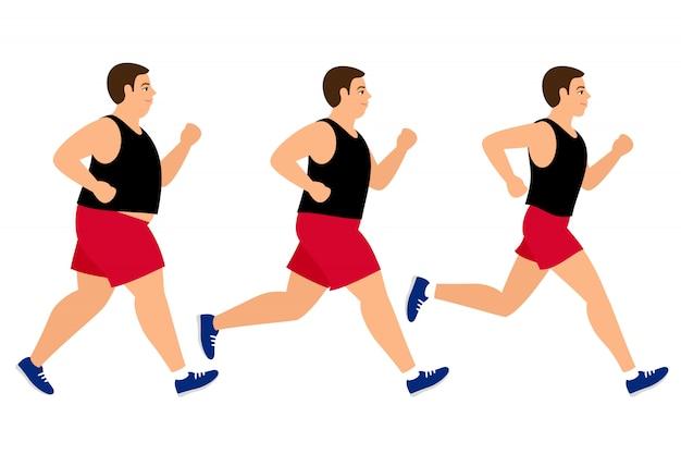Pérdida de peso corriendo hombre