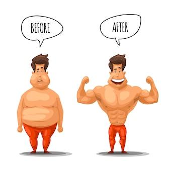 Pérdida de peso. hombre antes y después de la ilustración de la dieta. pérdida de peso de hombre, chico musculoso después de perder peso