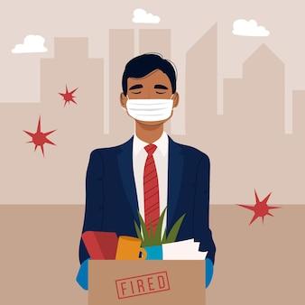 Pérdida de trabajo por crisis de coronavirus con hombre y máscara médica