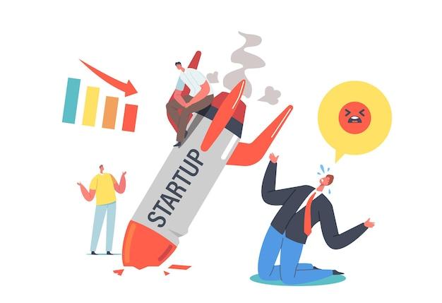 Pérdidas y quiebras comerciales no planificadas. startup rocket crash concept. error y problema de gestión, la primera mala experiencia de los trabajadores. empresarios sorprendidos por el fracaso. ilustración de vector de gente de dibujos animados