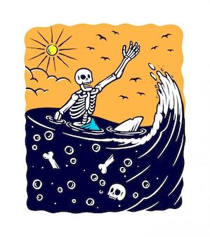 Perdido en la ilustración del mar