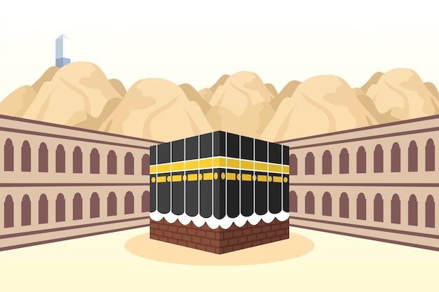 Peregrinación al hajj con escena kaaba