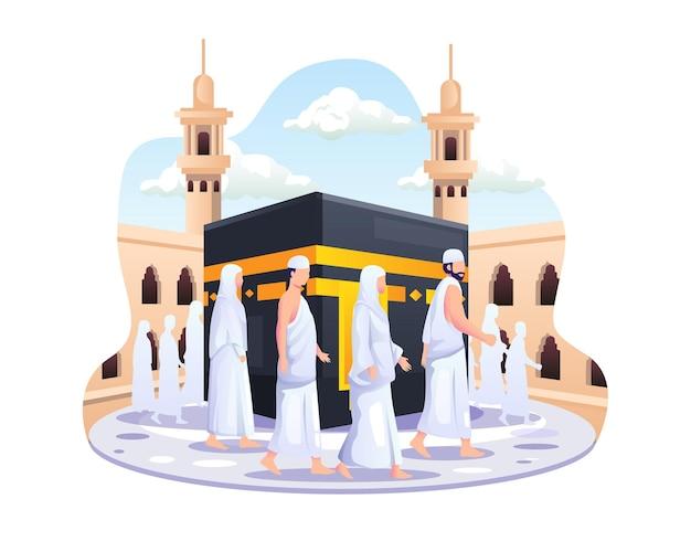 Peregrinación islámica del haj la gente camina alrededor de la ilustración de la kaaba