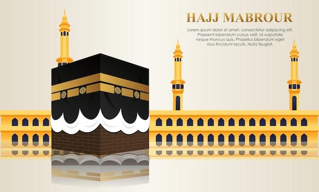 Peregrinación islámica con kaaba para el hajj mabroor