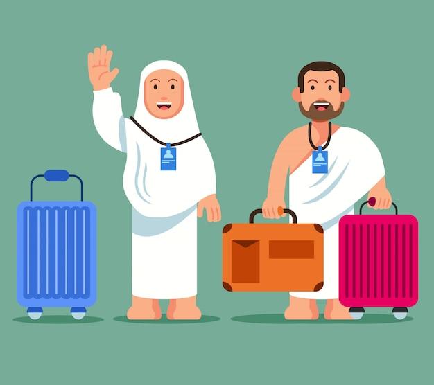 Peregrinos llevando maletín con ruedas