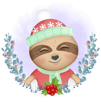 Pereza y corona de navidad ilustración acuarela