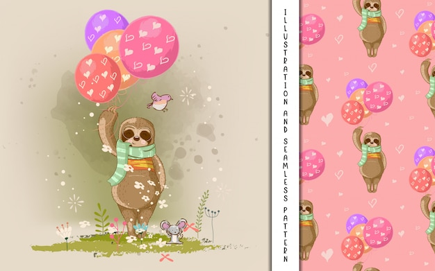 Pereza de dibujos animados lindo dibujado a mano con globos. estampado, baby shower
